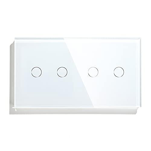 BSEED Interruptor de Pared WiFi,Blanco Interruptor inteligente con panel de vidrio templado 2 Gang 1 Vía+2 Gang 1 Vía,Compatible con Alexa y Google Home, Control de APP y Función de Temporizador