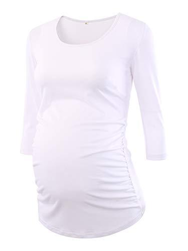 Love2Mi Damen 3/4 Ärmel Seite Geraffte umstandsshirt Top Umstandsmode Kleidung, Weiß, M