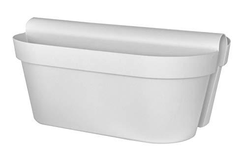 """Euro 3 Plast Balkon-Hängekasten """"Be Up Duo"""" in der Farbe Weiß, 50 cm / 18 Liter"""