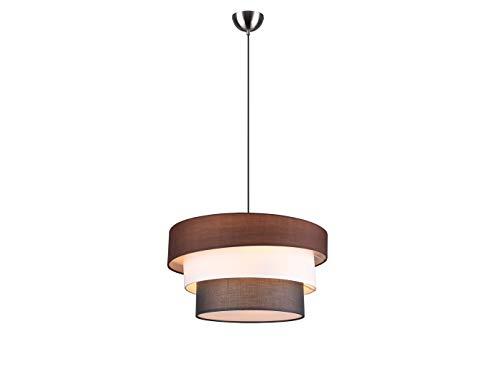 Opvallende LED hanglamp met meerdere stoffen kappen in wit, grijs en bruin, 45 cm groot