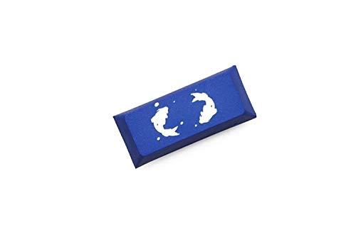 Teclas del Teclado Perfil de la Novedad baño de Tinte Escultura Teclado Pbt tecla Clave for Mecánica de Pescado láser Introduzca Rojo Azul Negro (Color : Blue Enter KoiFishx1)