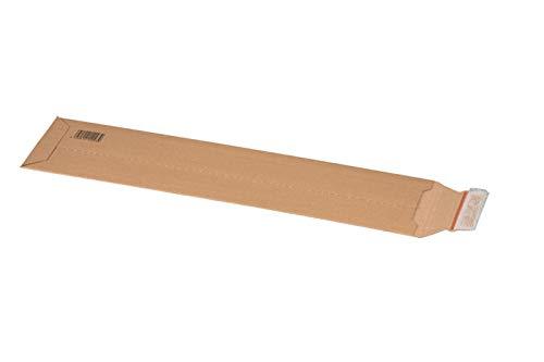 KK Verpackungen® Versandtasche aus Wellpappe für KFZ-Kennzeichen | 25 Stück, 140x590x50mm, Versandverpackung mit Selbstklebeverschluss & Aufreißfaden | Karton-Versandtasche für flachliegende Gegenstän