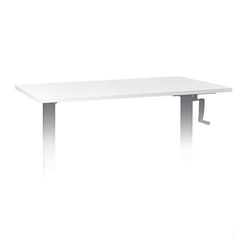 OneConcept Multidesk Comfort höhenverstellbarer Schreibtisch, Sitz- & Stehschreibtisch, Zubehör: Tischplatte, 120 x 65 cm, Multiplex, Melamin-Beschichtung, weiß