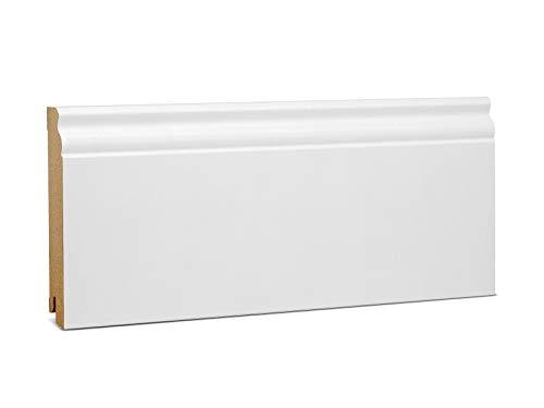 KGM Hamburger Sockelleiste weiß 120mm | Altberliner Leisten weiß für pvc Laminat und Parkett ✓Clip Leiste ✓Kabelkanal | mdf Fußleisten weiss 19x120mm zur unsichtbaren Montage | Sockelleisten 2.5m