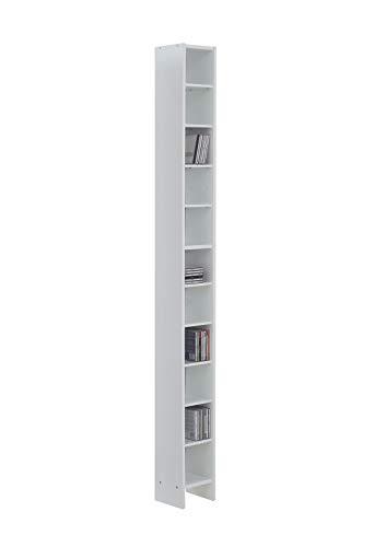 AVANTI TRENDSTORE - Duno - Scaffale in Legno Laminato con 11 Ripiani, Disponibile in Diversi Colori, Dimensioni Lap 19,5x185x16,5 cm (Bianco)
