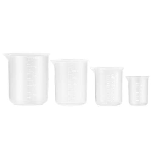Vasos Medidores de Plástico, Jarra Medidora de Plástico PP   4 unidades de 50 ml, 150 ml, 250 ml y 500 ml   Vasos de plástico para Cocina y Laboratorio