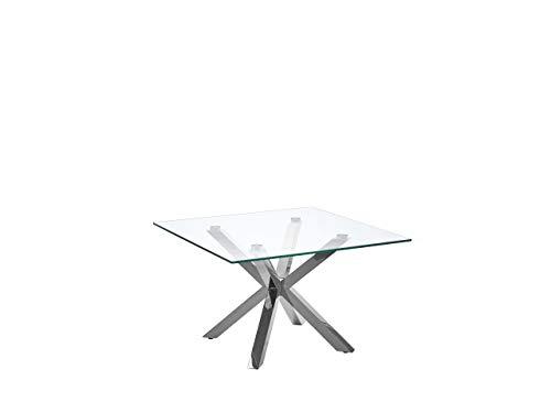 Beliani Tavolino da caffè Basso in Vetro e Acciaio Quadrato 70 x 70 cm Starlight