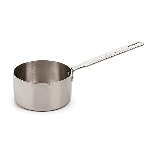 RSVP International Endurance Stainless Steel Measuring Pan Scoop, 2 Cups   Dry or Liquid   Baking or Cooking   Perfect for Feeding Pets, Cat Dog Food, Bird Seed, etc.   Dishwasher Safe