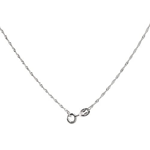 Collar Plata Mujer 925 45 cm Gargantilla de Plata de Ley 1.2mm Ancho Baño de Rodio Cadena Barbada Bricolaje Regalos de Joyería