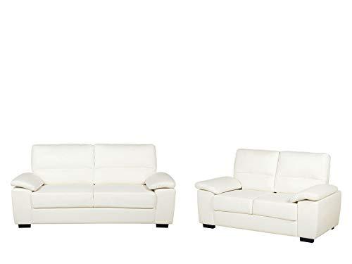Beliani Set 3er und 2er Sofa Kunstleder Creme Vogar