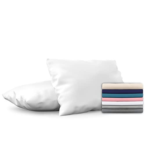 Dreamzie - Set de 2 x Funda de Almohada 40x70 cm, Blanco Alabastro, Microfibra (100% Poliéster) - Fundas de Almohadas Hipoalergénica - Fundas de Cojines de Calidad con una Suavidad Incomparable