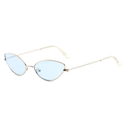 CYPZ Gafas de sol con forma de ojo de gato de metal, gafas de sol de conducción de hip hop retro con personalidad vanguardista para mujer, gafas de lente oceánica