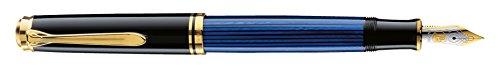 Pelikan 988097 Kolbenfüllhalter Souverän M 600 Bicolor-goldfeder 14-K/585Federbreite M, 1 Stück, schwarz/blau
