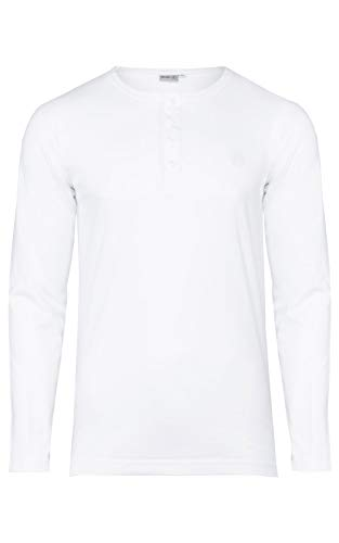 Preisvergleich Produktbild Banqert Herren Longsleeve Chamarel Falls,  klassisches Langarmshirt mit Knopfleiste für Männer aus 100 % Baumwolle für Büro und Sport,  in Weiss M