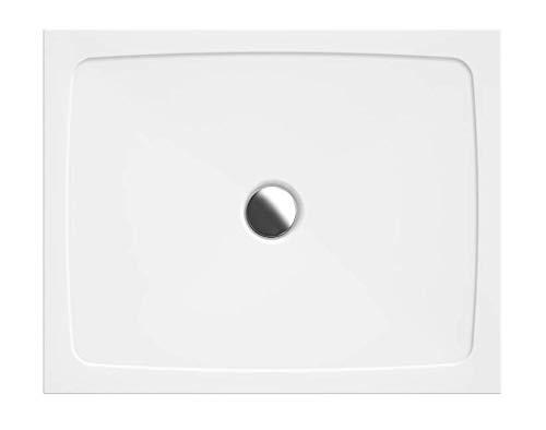 VBChome Duschwanne 90 x 75 x 3,5 cm sehr Flach Sanitär-Acryl Hochwertige Glasfaser verstärkte Wanne Form: Rechteck Eckig Weiß Alpineweiß Hochglanz Aufbau-Höhe: 3,5 cm