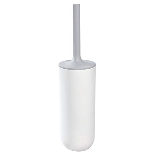 Price comparison product image iDesign Toilet Brush with Toilet Brush Holder,  Slim Bathroom Accessory Made of Plastic,  Free-Standing Brush and Holder with Silicone Bristles,  White / Grey