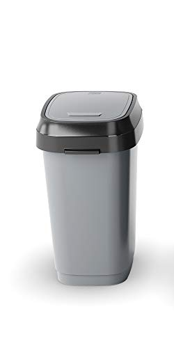 Kiss KIS Abfallbehälter, Kunststoff, Grau, Anthrazit, 19 x 25 x 33