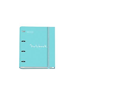 Miquelrius - Carpebloc Notebook, Archivador Carpeta con 4 Anillas con Bloc 100 Hojas Cuadriculadas, Carpesano Cierre Goma, color Azul Cielo