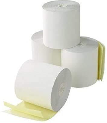 10 Rollos de Papel Autocopiativo de 2 Capas Blanco + Amarillo 76 x 70 x 12 para la caja registradora, carbonoso