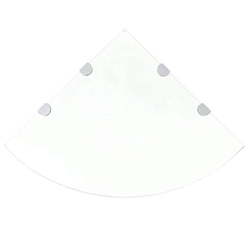 vidaXL Eckregal mit Halterungen Glasboden Glasplatte Glas Transparent 45 x 45 cm
