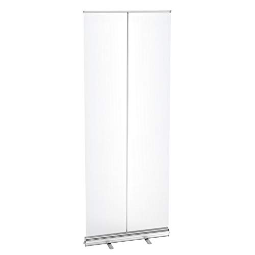LeStore Floor Standing Sneeze Guard, 80' H 32' W Portable Pull-Out Banner with Clear Screen Shield for Office, Stores, Restaurant, Classroom and More
