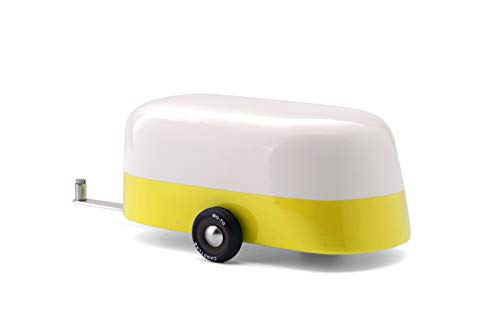 Candylab Toys Wooden Car, Yellow Camper Model, Modern Vintage Trailer, Collectible Toy Cars for Kids, Solid Beech Wood