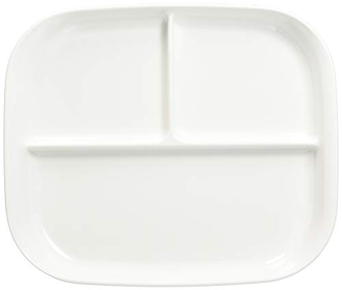 パール金属 食器 お皿 プレート 仕切付 スクエアプレート あつかいやすい ホワイト 日本製 K-6388