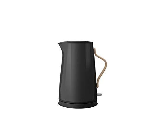 Stelton Wasserkocher Emma - Elektrischer Kocher, Wasserkessel - Kessel im skandinavischen Design - Filter, Trockenkoch-Sicherheitsschalter mit Abschaltung, Buchenholzgriff - 1,2 Liter, Schwarz
