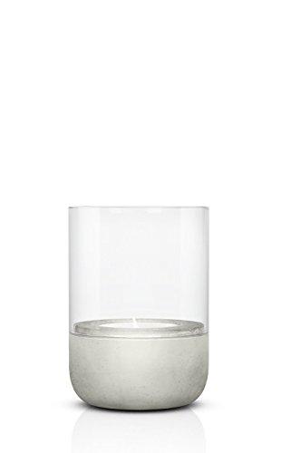 blomus -CALMA- Windlicht S in exklusiver Optik, puristischer Beton-Sockel, trendiger Teelichthalter mit Kerze, garantierte Standfestigkeit, bequeme Handhabung (H / B / T: 14 x 10 x 10 cm, Grau, 65432)