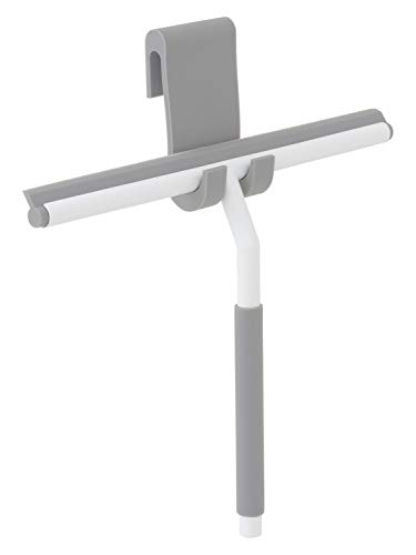 Nicol KAI premium douchewisser zilver van roestvrij staal met hanger voor de douchedeur - chroom design watertrekker om op te hangen zonder boren (2660300) wit