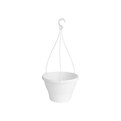 Elho Corsica Hängeampel 30 - Blumentopf - Weiss - Draußen & Balkon  - Ø 29.4 x H 21.1 cm