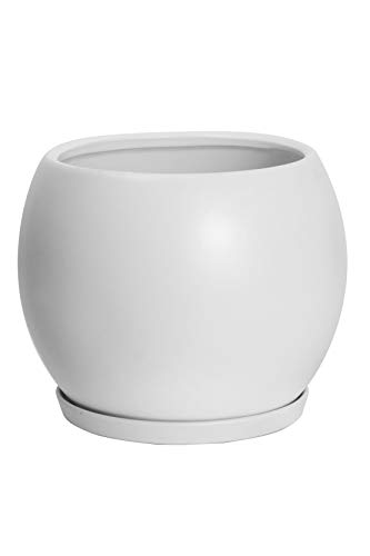 Ekirlin 植木鉢 陶器鉢 白 おしゃれ 丸 受け皿付き 鉢 プランター 鉢植え 観葉植物 6号 15cm 底穴あり 北欧 室内 部屋 インテリア ホワイト