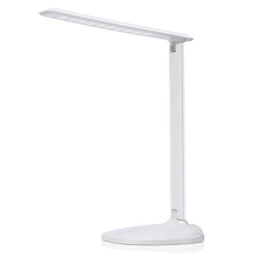Lampada da Scrivania LED, AVAWAY Lampada Tavolo Dimmerabile Lettura USB Lampada Scrivania per Studia Lavoro Ufficio con 3 Livelli di Luminosità e Funzione Touch(Bianco)
