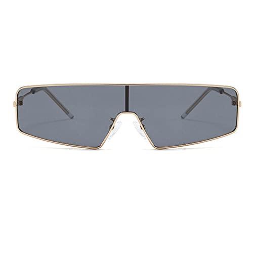 Gafas de sol con espejo brillante y gafas de sol polarizadas gran marco de color espejo de rana para hombre – Marco de oro negro gris negro