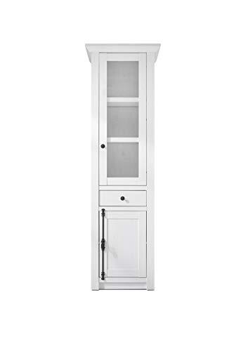 Newfurn Vitrine Vitrinenschrank Landhaus Holzvitrine II 63x207x 45 cm (BxHxT) II [Max.Two] in Pinie Weiß Nachbildung/Pinie Weiß Nachbildung Wohnzimmer Schlafzimmer Esszimmer Flur Diele
