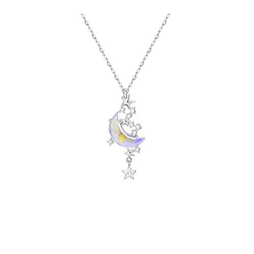 YAZHUANG8 925 Sterling Silver Classic Sea Crescent Luna Collar Colgante Regalos de San Valentín Joyería para niñas Mujeres Hija