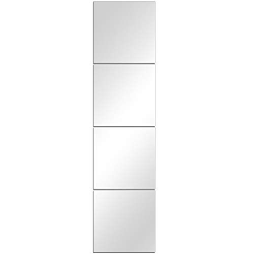 DH Wall Mirror Tiles - 8 Inch x 4Pcs Frameless Simple Mirror Set ,Self Adhesive Glass Mirror Sheets Wall Mirror Stickers for Room Mirror or Gym Mirror Wall Decoration