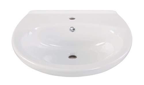 Calmwaters® - Essential - Ovales Waschbecken aus weißer Keramik mit Überlauf zum Hängen mit einer Breite von 55 cm - 05AB2264