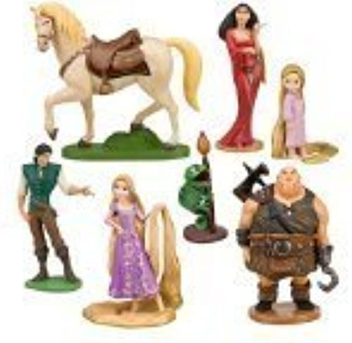 Tangled 7 Piece Figurine Playset Including Rapunzel, Toddler Rapunzel, Flynn Rider, Pascal, Maximus, Mother Gothel & Hook Hand Thug by Tangled