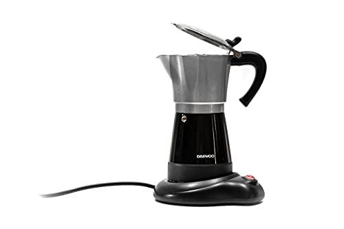 DAEWOO DCM-990 elektryczny ekspres do kawy z aluminium, 300 ml, 6 filiżanek, 480 W, podstawa obrotowa 360 stopni, funkcja utrzymania ciepła