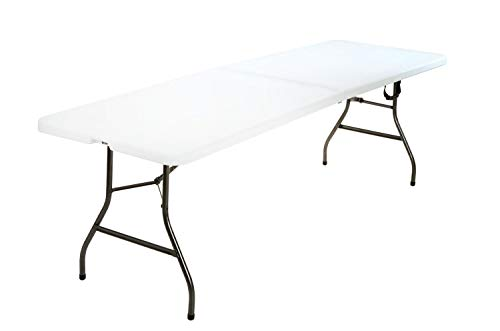 New Update White Deluxe 6 Foot x 30 inch Fold-in-Half Blow Molded Folding Table