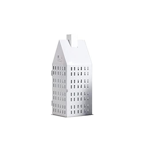 LLLKKK Farolillo decorativo con forma de casa de malla, farol colgante con cristal, vintage, de metal, portavelas para exteriores, decoración de bodas (cuadrado)