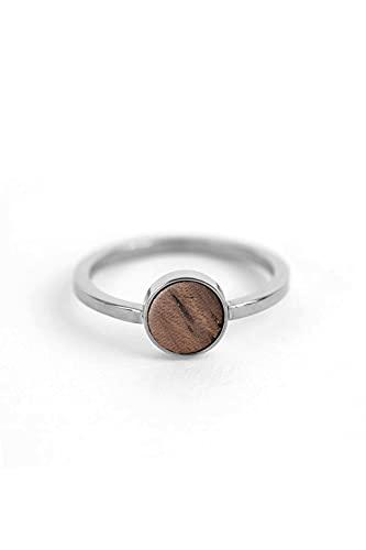 KERBHOLZ Joyas de madera – Geometrics Collection Circle Anillo para mujer, anillo de filigrana con elementos circulares de madera natural, Metal precioso. Madera,