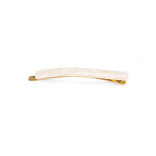 Glamorousky Simple Fashion Plated Gold White Pattern Geometric Rectangle Hair Clip