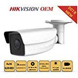 4K PoE Security IP Camera - Compatible as Hikvision DS-2CD2T85G1-I5 UltraHD 8MP EXIR Bullet Onvif Weatherproof 2.8/4mm Fixed Lens Best Home Business Security(4mm)