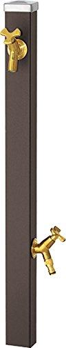 ユニソン(UNISON) 立水栓 スプレスタンド60 左右仕様 マットブラウン 蛇口2個セット ゴールド 600532210 幅6.4×高さ80(110)×奥行6.4cm 取扱説明書、プレーンフォーセット フラワー(泡沫・ホース用アダプター付) 2個