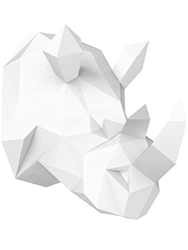 Oh Glam Home Kit DIY Rinoceronte de Pared Papercraft Kit Cartón 3D Escultura Origami 3D Puzzle 3D Decoración niños PRECORTADO (Blanco)
