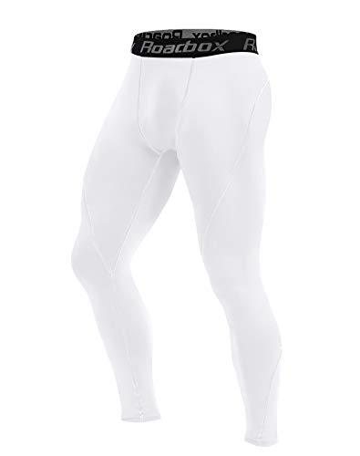 Roadbox Men's Compression Pants Base Layer Cool Dry Tights Leggings (White, M)