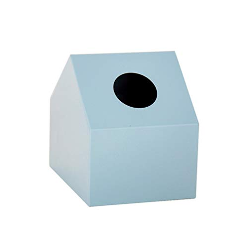 TOPBATHY Caja para pañuelos de papel (metal, 14 x 11 x 13,5 cm), diseño de casa, color azul
