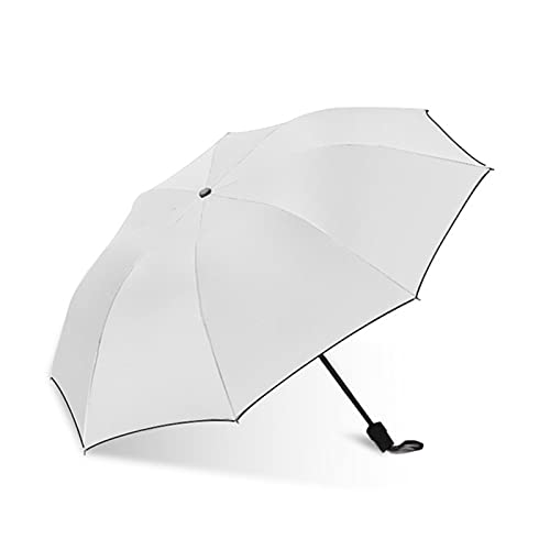 Paraguas de Protección Uv, Espesar Sombrilla Turística Paraguas Plegable a Prueba de Viento Resistente al Agua con Bolso de Mano Adecuado para Hombres y Mujeres en Días Soleados y Lluviosos.,Blanco
